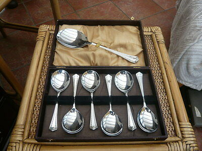 Vintage 1950,s Chrome Plated Cutlery Fruit Desert Spoons And Serving Spoon