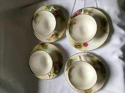 Royal Worcester Tea Cups And Saucers Hand Painted With Roses C1910 Pattern W8011