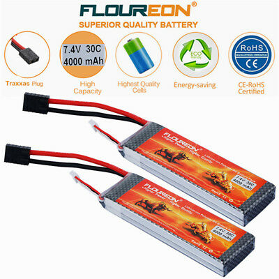 2x 2S 7.4V 4000mAh 30C Traxxas LiPo Battery for RC Car Boat Truck Drone Airplane