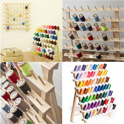 120 Spools Wood Folded Thread Rack Sewing Embroidery Stand Holder Organizer