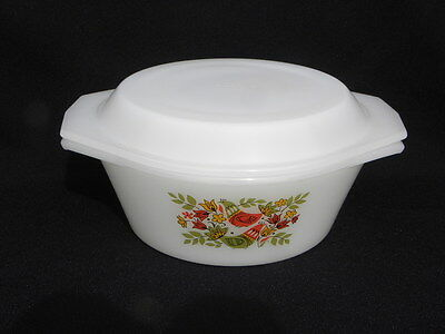 Vintage Arcopal France Covered Casserole Dish w/French Hen or Partridge Design