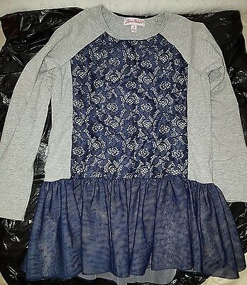 girls 7 years Jona Michelle grey with blue lace long sleeve top