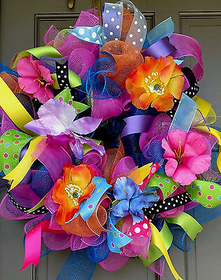 Handmade Summer Everyday Deco Mesh All Occasion Tropical Flower Floral Wreath