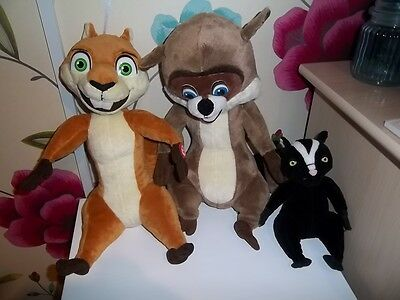 TALKING R J - RACOON/TALKING HAMMY - SQUIRREL/STELLA - SKUNK over the hedge toys