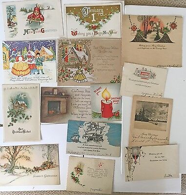 Vintage Christmas/New Years Postcard and One Sided Cards