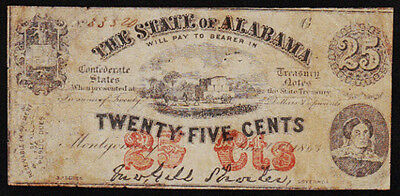 """1863 $0.25 """"State of Alabama"""" Obsolete Note"""