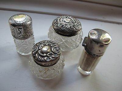 Collection 4 SOLID SILVER Lidded  CRYSTAL Dressing Table Pots/Scent Bottles