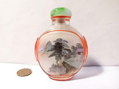Vintage Inside Painted Chinese Glass / Crystal Carved Overlaid Snuff Bottle #S2