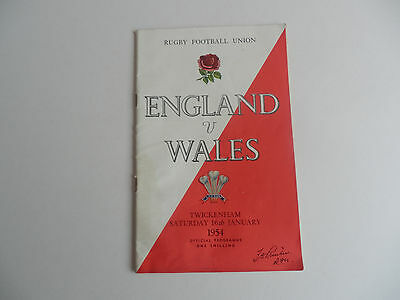 ENGLAND v WALES 1954 RUGBY PROGRAMME