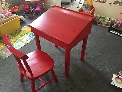 Childs red wooden desk and chair set in excellent condition