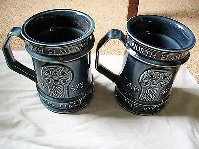 Pair of Holkham Pottery Commemorative Tankards - North Elmham