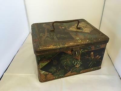 Vintage Japanese Tin Box With Handle 22.5cm x 18.5cm x 13cm Japan Scarce