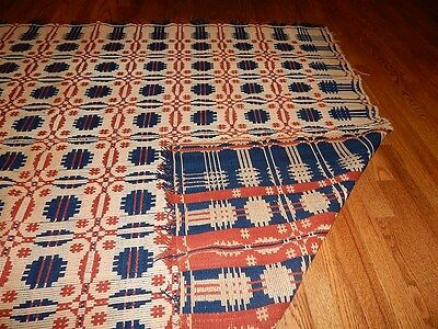 "c 1850 Jacquard coverlet Double Weave? approx 60"" x 88"""