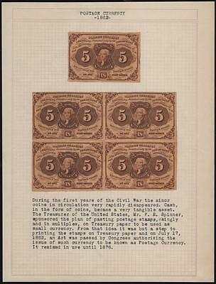 Fr1230 1St Issue 5¢ Fractional Currency Uncut Block Of 4 With Fold Marks Br7157
