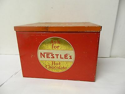 Vintage  Nestles Hot Chocolate Cocoa Tin Store Display Box Hinged Lid