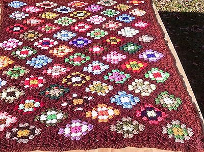 "Handmade Granny Square Crocheted Afghan Multi Color Squares on Brown 42"" x 72"""