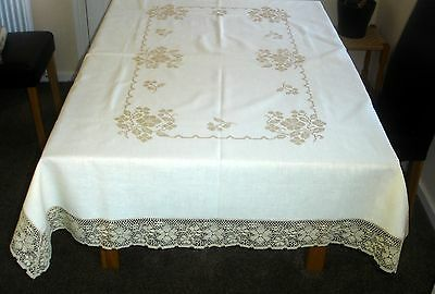 Vintage Hand Embroidered Ecru & Cream Linen Lace Edge Rectangular Tablecloth