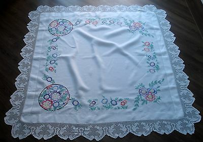 Vintage Art Deco White Linen Hand Crochet Lace Edge Hand Embroidered Tablecloth