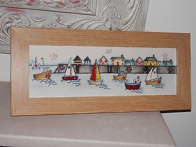 *1St Quality* Moorcroft Harbour Boats Plaque 14 Inch *stunning*