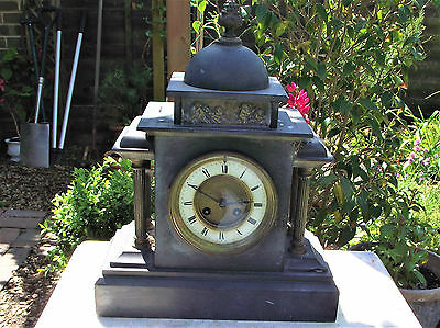 victorian antique  Large French Chiming Slate Mantle Clock