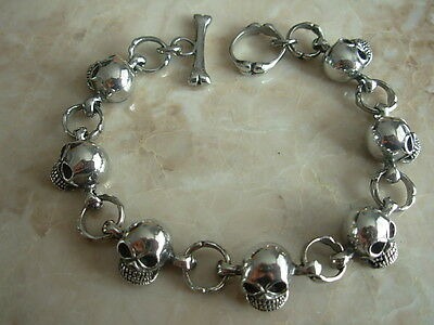 Mens Heavy Metal Skull and Bone Bracelet Gothic Chunky Pewter T Bar Clasp