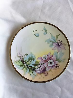 Vintage Plate Hand Painted Vienna China w/ gold rim 8""