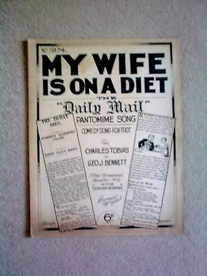 Vintage Sheet Music - 'My Wife is on a Diet' - Comedy Song 1929