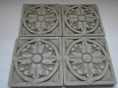 "Stone Rosette Architectural Detail Stepping Stone Coasters 4"" Square Cement Tile"