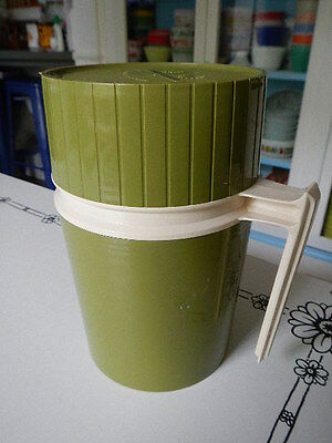 Vintage Green & Beige Thermos Wide Mouth Plastic Insert Glass Vacuum Jar