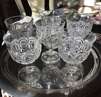 MOON & STARS  CHAMPAGNE GLASSES BY WRIGHT GLASS L.G. Set of Six