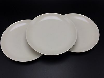 """3 Iroquois Casual China Russel Wright Casual White SALAD Plates 7.25"""" USA Vtg"""