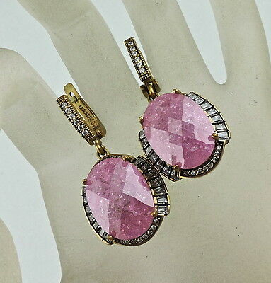 Antique Style Dangle Earrings Silver Plated,bubble Gum Pink & White Crystal