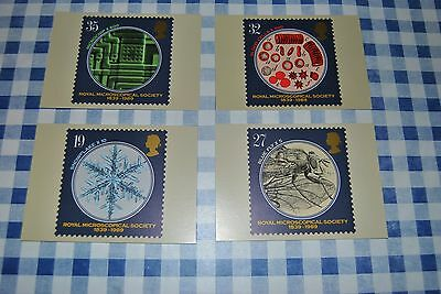 Post office picture cards set of 4 Royal Microscopical Society 1989