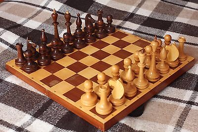 BIG & BEAUTIFUL Vintage Soviet Chess USSR 1970s Wooden Chess - Full Set!
