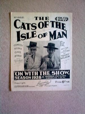 Vintage Sheet Music - 'THE CATS OF THE ISLE OF MAN' - comedy song - 1928