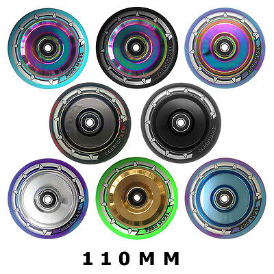Hollow Core 110mm Chrome Stunt Scooter Wheels Solid Core Mixed PU NEW 2017 x1