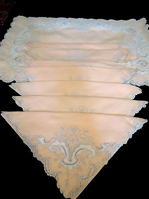Antique French Elegant  Placemat Set- Pale, Pale Pink W/incredible Embroidery-Ex