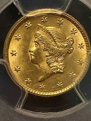 1853 $1 Indian Head Gold -PCGS MS62-Nice Eye Appeal