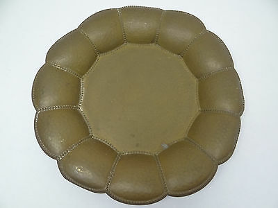 Vintage Used Metal Brass Hand Hammered Petal Shaped Decorative Plant Stand Bowl