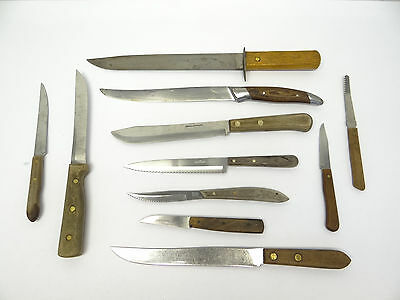 Mixed Vintage Lot Used Old Chefs Cutlery Knives Knife Steel RH Forschner