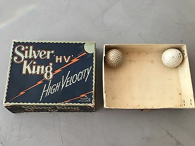 2 Silver King HV Vintage Golf Balls and box