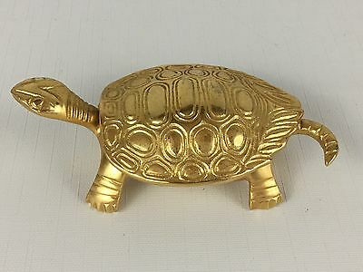 Vintage Metal Gold-Tone TURTLE Hinged Trinket Jewelry Box