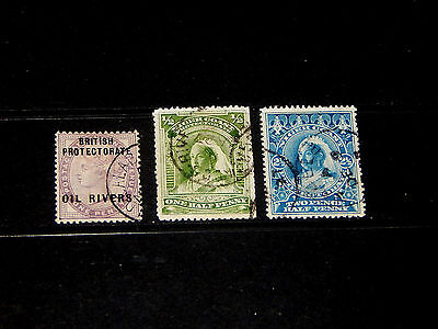 Niger Coast Protectorate stamps - 3 used stamps - great group, hard to find !!