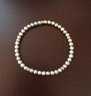 "Ross Simons Stretchy Gray Tiny Pearl & Gold Bead Bracelet 7"" Unstreched"