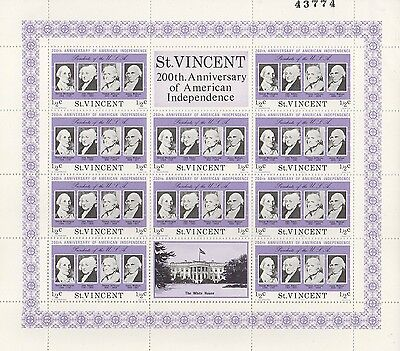 ST VINCENT 200th ANNIVERSARY AMERICAN INDEPENDENCE STAMP SHEET - SMALL CREASE