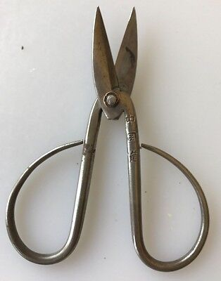 """Vintage Wrought Iron Steel Scissors 3.5"""" Long W/embroidered Case"""