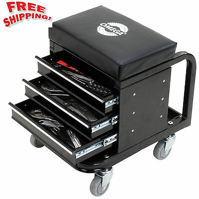 Mechanics Rolling Creeper Seat & Tool Box Chest Storage Stool Chair Roller Shop