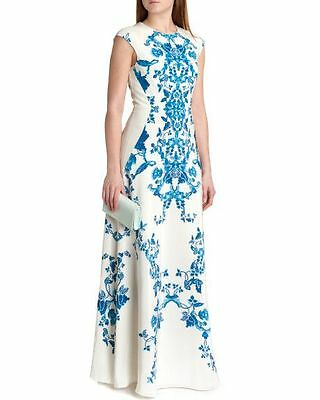 "Ted Baker ""nelum"" Blue & Ivory Floral Silk Maxi Wedding Occasion Dress Uk8 Bnwt"