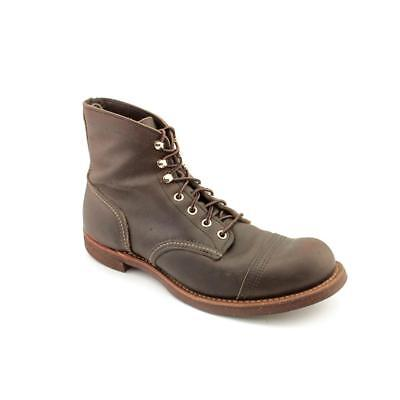 Red Wing Shoes Iron Ranger Men  Round Toe Leather Brown Boot
