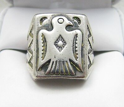 Vintage Navajo Fred Harvey Era Thunderbird Stamped Sterling Silver Ring Sz 8.5